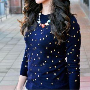 J. Crew Tippi Navy Gold Star Merino Wool Sweater